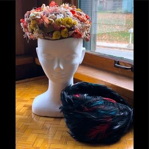 2 vintage hats, flowers & feathers